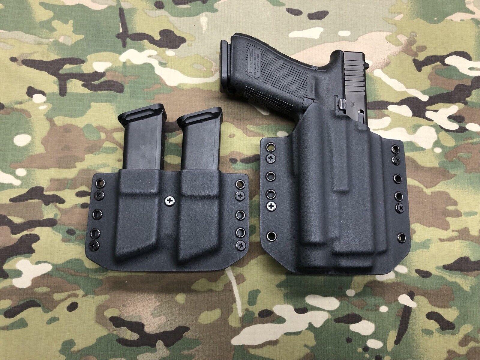 Negro Funda De Kydex Glock 17 22 Olight PL-2 Valkyrie & Doble Compartimiento portador