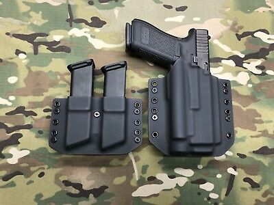 Black Kydex IWB Holster for Glock 17 22 Olight PL-2 Valkyrie w//adj Retention