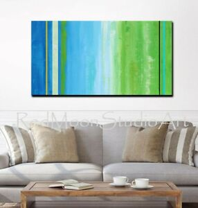 48x24-Abstract-Art-Painting-Blue-Turquoise-Green-US-Artist-Coastal-Theme