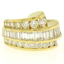 Charles Krypell 18k Gold 3.20ctw FINE E VVS Channel Diamond Wave Cocktail Ring