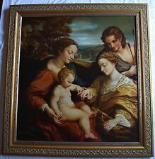 HUGE Old master copy from Louvre very fine painting & framing by Maria Castro