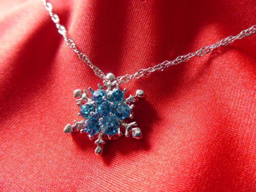 Turchese NATALE IDEA REGALO Zircone NEVE Splendido fiocco di neve Collana Carina