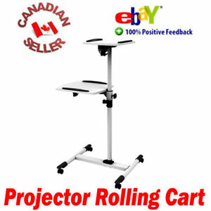 Rolling-projector-amp-laptop-mobile-trolley-cart-height-adjustable-on-wheels-white