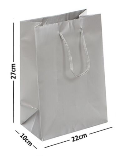 25 argent grande laminé brillant sacs cadeau corde poignée anniversaire faveur 22x10x27cm