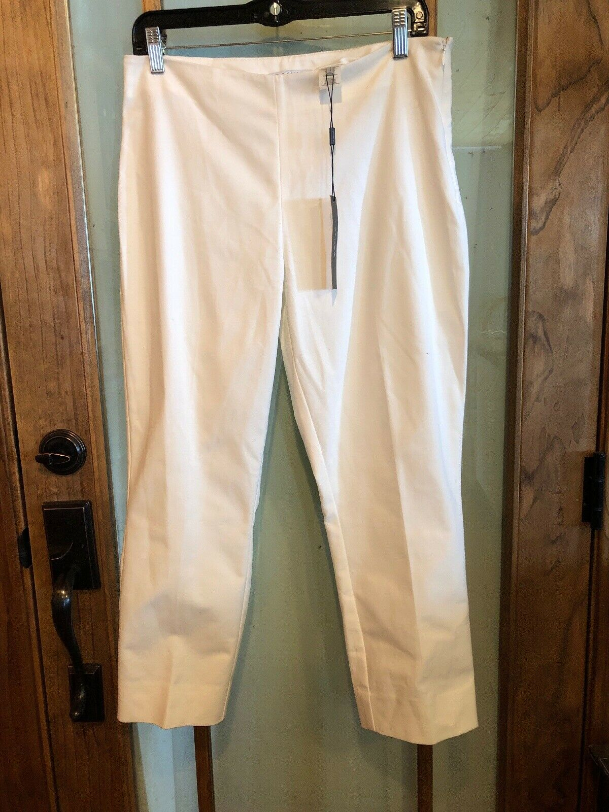 New T Tahari Elie Tahari White Crop Ankle Pants Women's Size 8 NWT