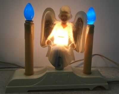 RARE Vintage Electric plastic Angel CANDLE CANDELABRA Christmas