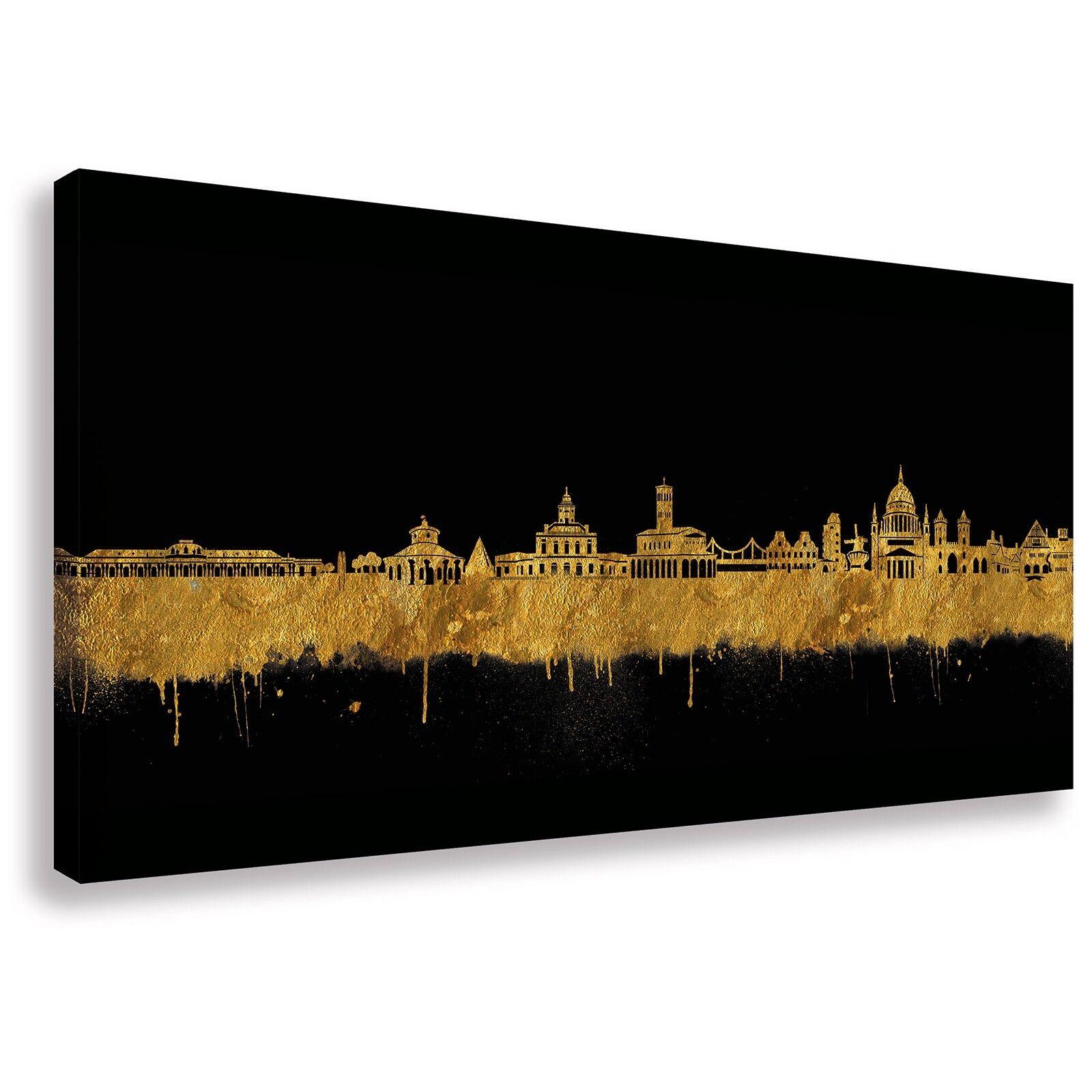 Panorama Wandbild von Potsdam Skyline Gold Kunstdruck Leinwand (div.Größen)
