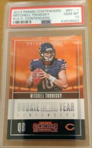Mitchell-Trubisky-2017-Panini-Contenders-ROY-Rookie-RC-PSA-10-GMT-Bears-LOW-POP