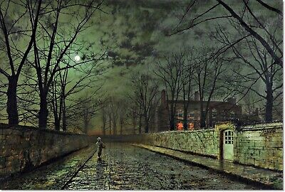 Stretched Canvas Silver Moonlight Painting John Atkinson Grimshaw Reproduction Ebay