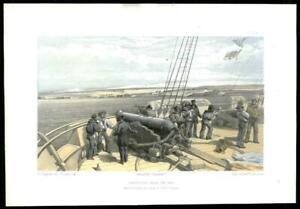 1855-Original-Antique-Print-CRIMEA-WAR-HMS-SIDON-Cannon-Ship-Sebastopol-52