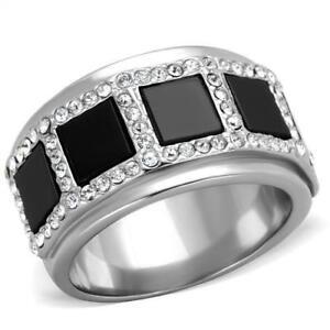2067-black-onyx-band-SIMULATED-DIAMOND-RING-STAINLESS-STEEL-NO-TARNISH-womens