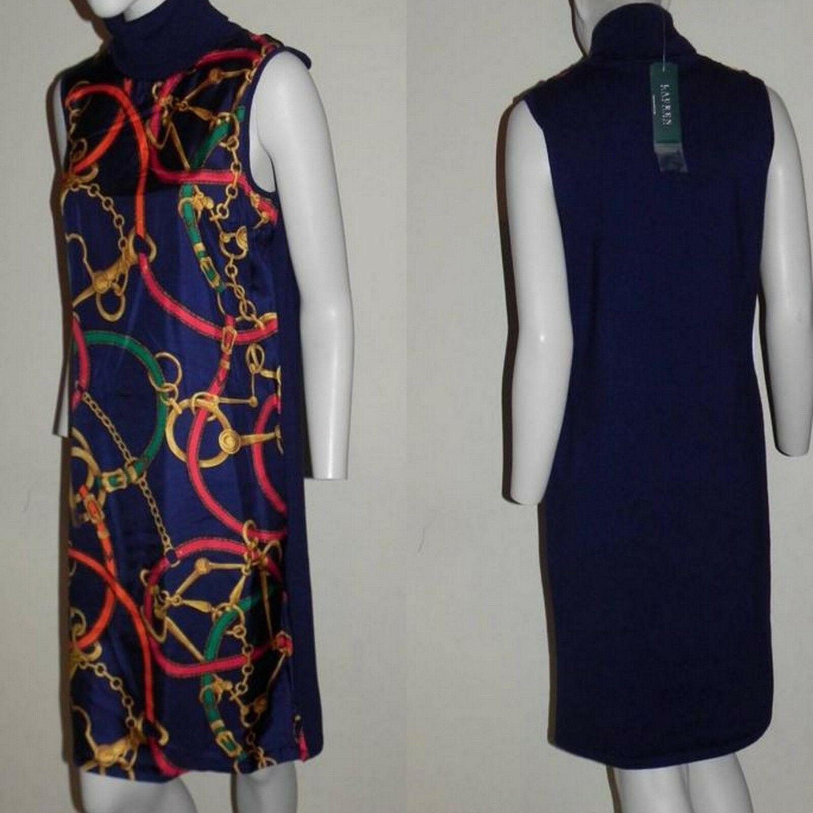 Lauren Ralph Lauren Turtleneck Equestrian Navy Multi Farbe Sheath Dress L