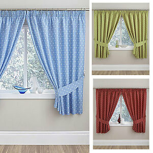 Image Is Loading Polka Dot Kitchen Thermal Curtains 64x90 034 164x229cm