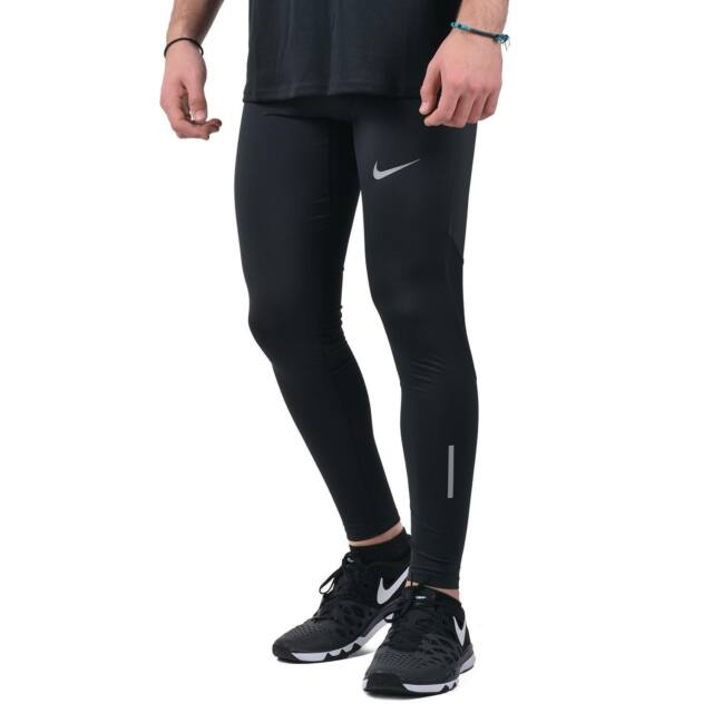 "Nike Tech Men/'s 28.5/"" Running Tights L Black Blue Training New"