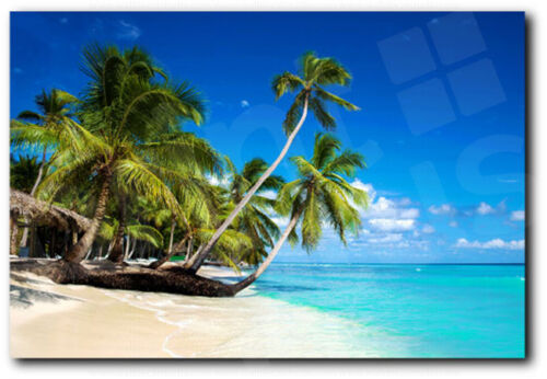 Tropical Beach in Caribbian Sea Saona Island Dominican Canvas Art Poster Print