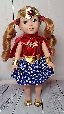 6 Piece Wonder Women Inspired Costume Fits AG Wellie Wisher /& Glitter Girl Dolls