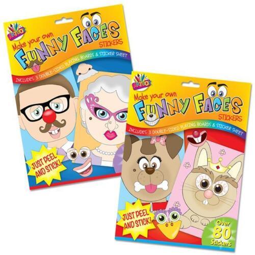 Bambini Kids trarre le tue delle facce buffe o animali domestici ADESIVI Divertente Giocattolo Festa Borsa Regalo