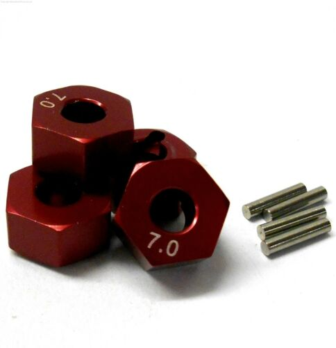 57817r 1//10 scala RC m12 12mm ADATTATORI CERCHI in Lega con Dado Pin Rosso 7mm