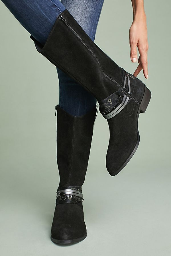 Anthropologie Stiefel Western Suede Leather Low Heel schuhe Side Side Side Zip By Elysess, 38 9e971a