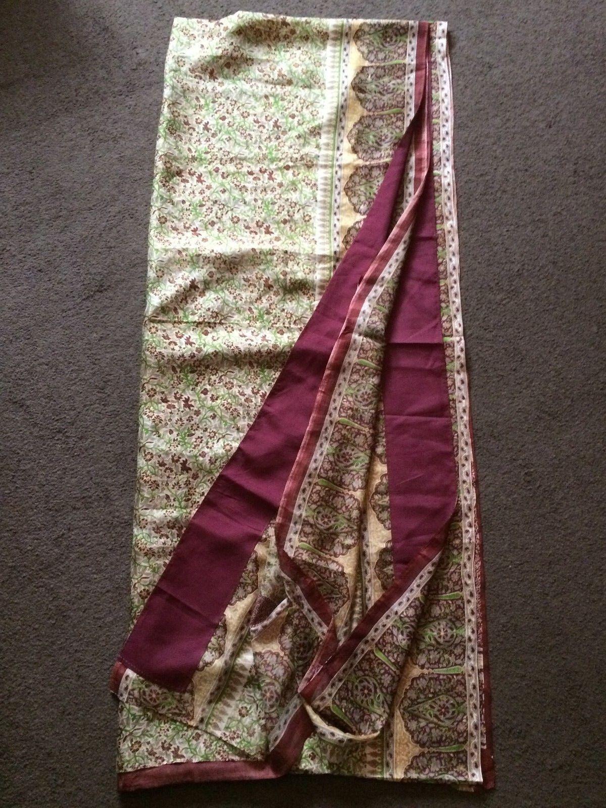 Beautiful Handmade indian Womens Floral 100%Silk Saree