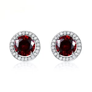 925-Sterling-Silver-Round-Red-Ruby-Diamond-Accents-Halo-Stud-Earrings