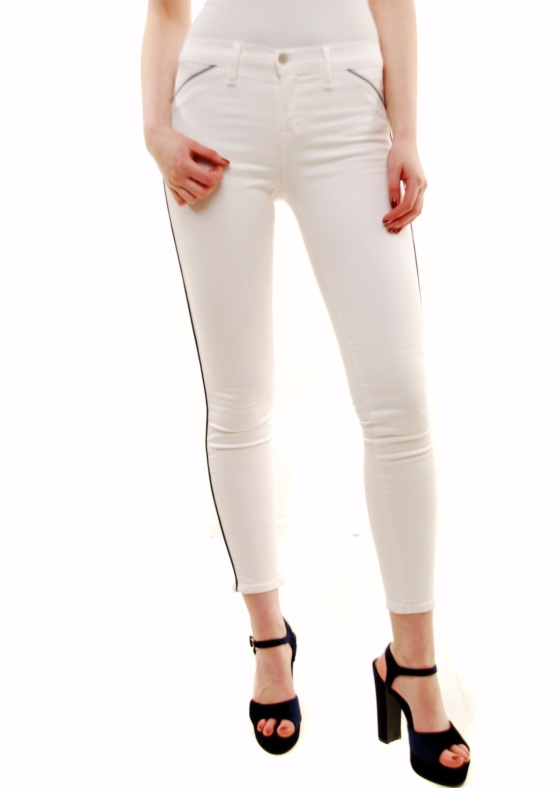 J BRAND Women's New Piped Skinny White Jeans 849C028 Size 30 RRP  BCF72