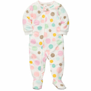 Carters 4T Footed Microfleece Dotted Pajamas Toddler Girl Pjs Footie Ivory