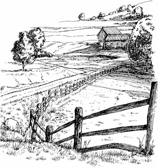 Unmounted rubber stamp Farmland scenery