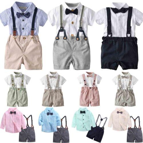 Newbron Baby Boy Outfit Shirt Suspender Pants Gentleman Suit 6 12 18 24M Set