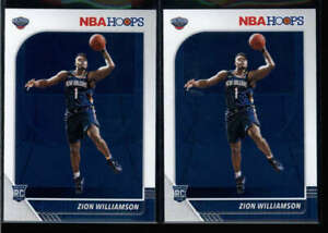 LOT-OF-2-ZION-WILLIAMSON-2019-20-PANINI-HOOPS-258-ROOKIE-RC-FC2204