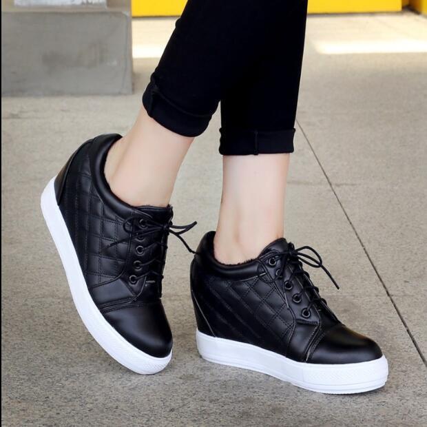 Sweet Femme Talon Haut Compensé Fourrure Doublé Chaud chaussures à Lacets Baskets plus Sz U491