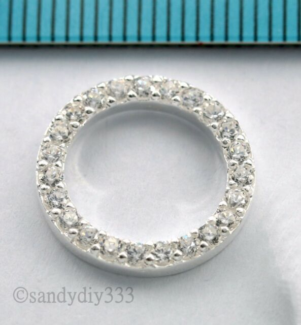 1x BRIGHT STERLING SILVER CZ CRYSTAL STONE ROUND  JUMP RING SPACER 15mm N877