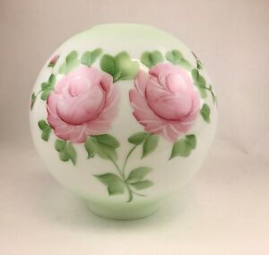 "10"" Teinte Verte Avec Roses Boule De Verre Globe Lampe à huile Shade - 4"" Ajusteur-GWTW"