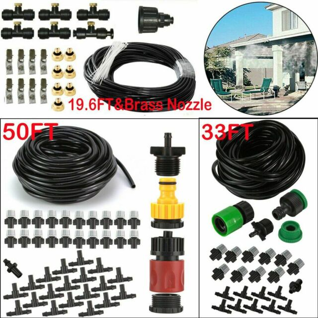 30FT Misting Cooling System Fan Cooler Patio Garden Water Mister Mist Nozzles US