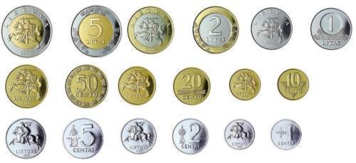 Lithuania set of 9 coins pre-euro from 1 centas to 5 Litas 1991-2013 UNC