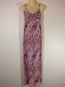 El-Shadai-Women-039-s-Size-12-Magenta-Pink-amp-White-Paisley-Maxi-Dress