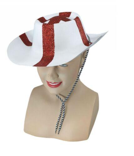 Men/'s England Fancy Dress Glitter Cowboy Hat St George Football Euro/'s Stag Fun