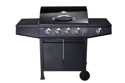CosmoGrill 4+1 Outdoor Gas BBQ Black Barbecue Grill Side Burner D48