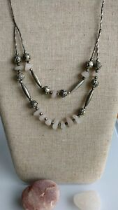 Tribal-handcrafted-rose-beach-quartz-necklace-boho-chic