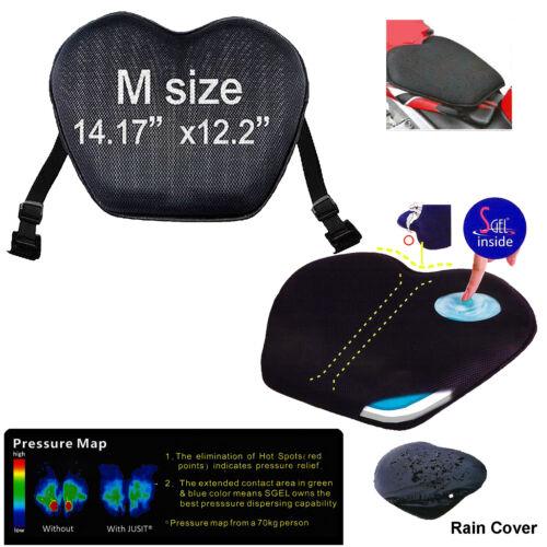 """Jusit Motorcycle GEL Seat Cushion Comfort Pad Black Size Medium 14.17/""""x12.2/"""""""