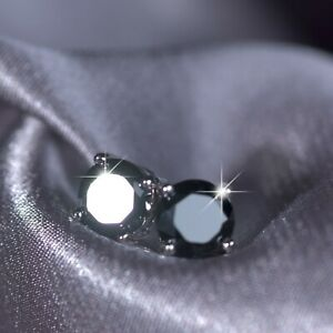 18K-WHITE-GOLD-GF-MADE-WITH-BLACK-SWAROVSKI-CRYSTAL-EARRINGS-STUD-6MM-0-8CT