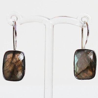 925 Sterling Silver Semi-Precious Natural Stone drop Earrings - Labradorite
