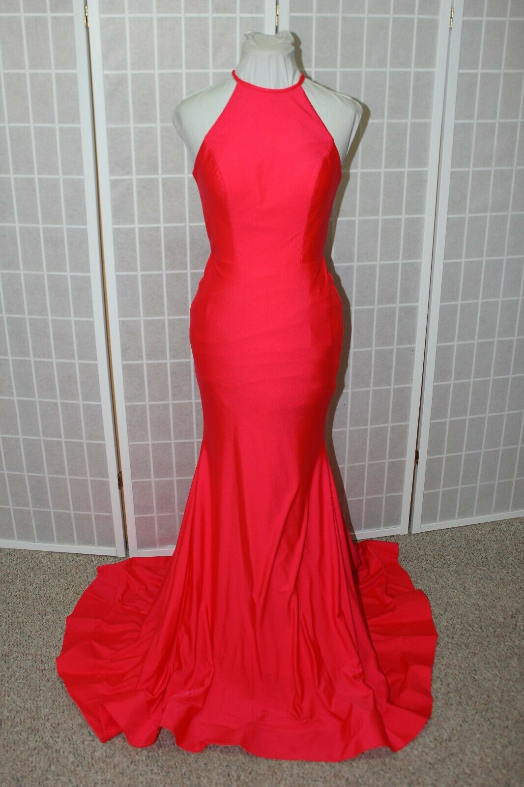 NWT Sherri Hill 53663 Size 4 Dark Coral halter jersey long formal PROM Gown