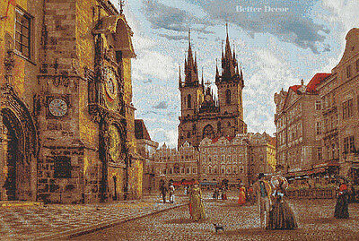 """28"""" WALL JACQ. WOVEN TAPESTRY Old Prague View EUROPEAN PICTURE- MEDIEVAL SCENE"""