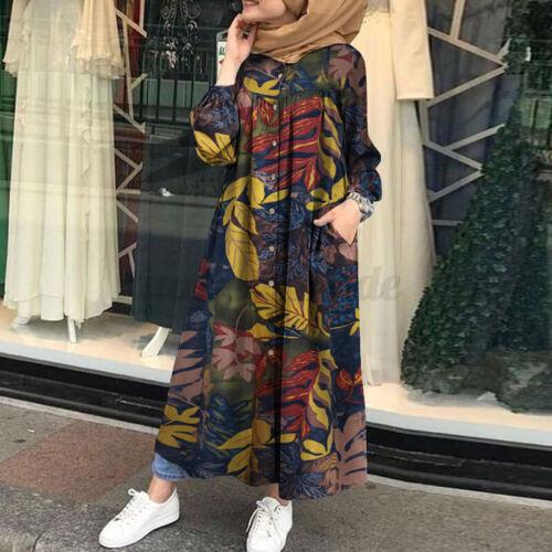 ZANZEA Women Muslim Islamic Long Sleeve Printed Ruffles Kaftan Tunics Maxi Dress