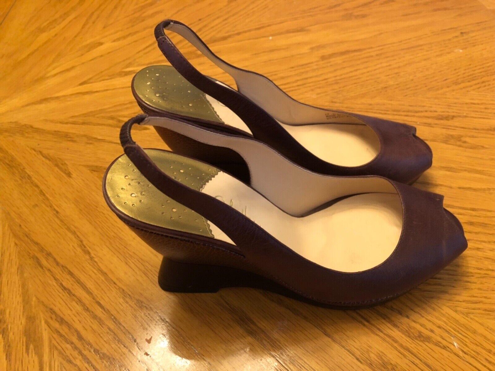 Cole Haan Ankle Strap Wedges braun & & & Copper Leather Design Gold Interior Größe 9B 6bf1ab