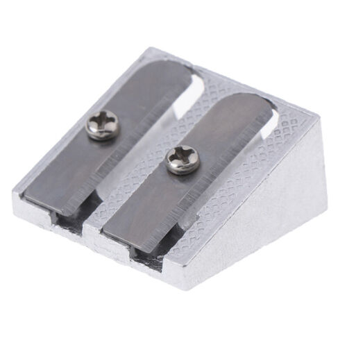 2Pcs Pencil Sharpener Bevelled Practical Stationery Double Hole Aluminum  DFC