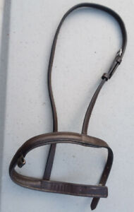 Good quality leather flash cavesson noseband brown pony size