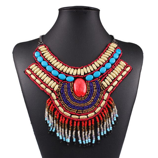 Women Bohemia Crystal Charms Tassel Chain Statement Bib Necklace Choker Jewelry