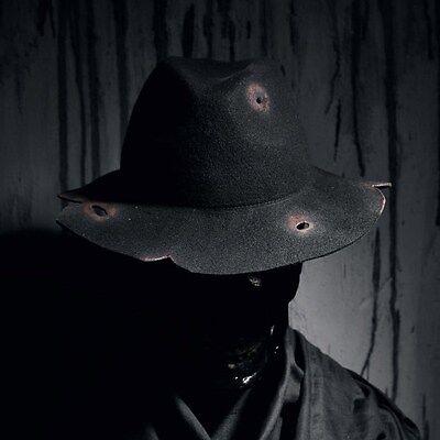 ByTheR Men/'s Black Urban Classy Line Paint Custom Woolen Felt Fedora Hat UK